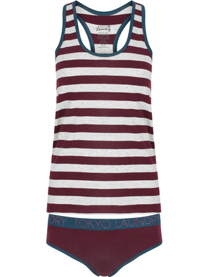 Begonia Striped Racer Tank Top Underwear Set in Pickled Beetroot / Light Grey Marl – Tokyo Laundry