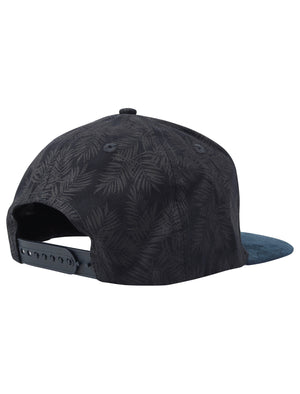 Bengal Palm Print Cotton Cap with Faux Suede Peak In Navy – Tokyo Laundry