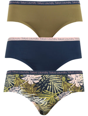 Besalu (3 Pack) No VPL Seam Free Assorted Briefs in Burnt Olive / Midnight Blue / Chalk Pink Palm Leaf Print – Tokyo Laundry