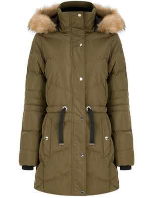 Bingo Longline Quilted Puffer Coat with Faux Fur Trim Hood in Khaki - Tokyo Laundry
