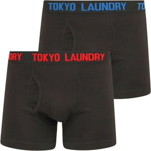 Booker (2 Pack) Boxer Shorts Set in High Risk Red / Jet Blue - Tokyo Laundry