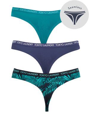 Borneo (3 Pack) Palm Print No VPL Seam Free Assorted Thongs in Harbour Blue / Patriot Blue / Dark Navy – Tokyo Laundry