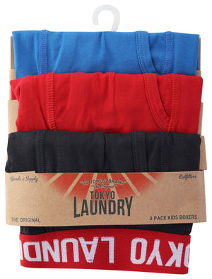 Boys (6-13yr) Henson (3 Pack) Sports Boxer Shorts Set in Navy / Scarlet Sage / Jet Blue – Tokyo Laundry