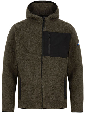Brewer Teddy Borg Fleece Zip Through Hoody In Dusty Olive - Tokyo Laundry