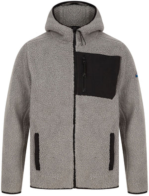 Brewer Teddy Borg Fleece Zip Through Hoody In Ghost Grey - Tokyo Laundry