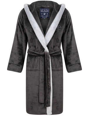 Buckingham Soft Fleece Bonded Dressing Gown with Hood in Dark Grey – Tokyo Laundry
