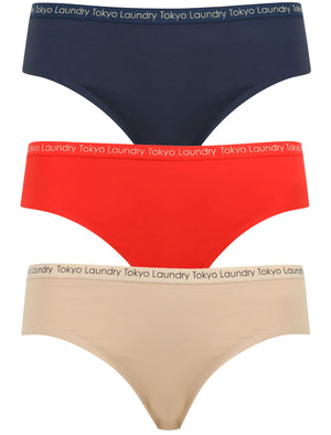 Cadiz (3 Pack) No VPL Seam Free Assorted Briefs In Midnight Blue / Lollipop Red / Nude – Tokyo Laundry