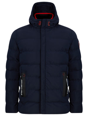 Chappin Quilted Puffer Coat with Hood In Sky Captain Navy - Tokyo Laundry