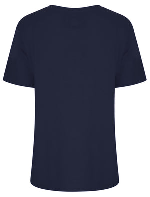 Charli Flocked Motif Cotton Jersey T-Shirt in Sky Captain Navy - Tokyo Laundry