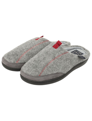 Clayed Fleece Lined Mule Slippers with Stitch Detail in Grey – Tokyo Laundry