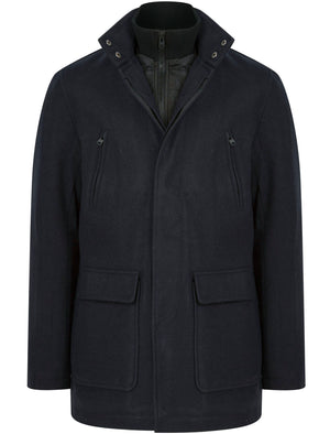 Clayne Wool Look Notch Collar Tailored Coat with Quilted Mock Insert in Navy - Tokyo Laundry