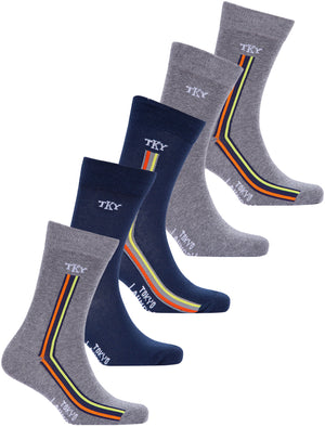 Daintree (5 Pack) Cotton Rich Multi-Coloured Assorted Socks in Mid Grey Marl / Navy - Tokyo Laundry