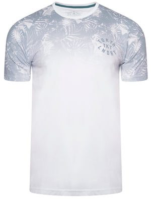 Dark Leaf Ombre Sublimation Print Jersey T-Shirt in Optic White - Tokyo Laundry