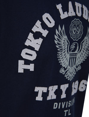 Division Motif Cotton Jersey Ringer T-Shirt In Sky Captain Navy - Tokyo Laundry