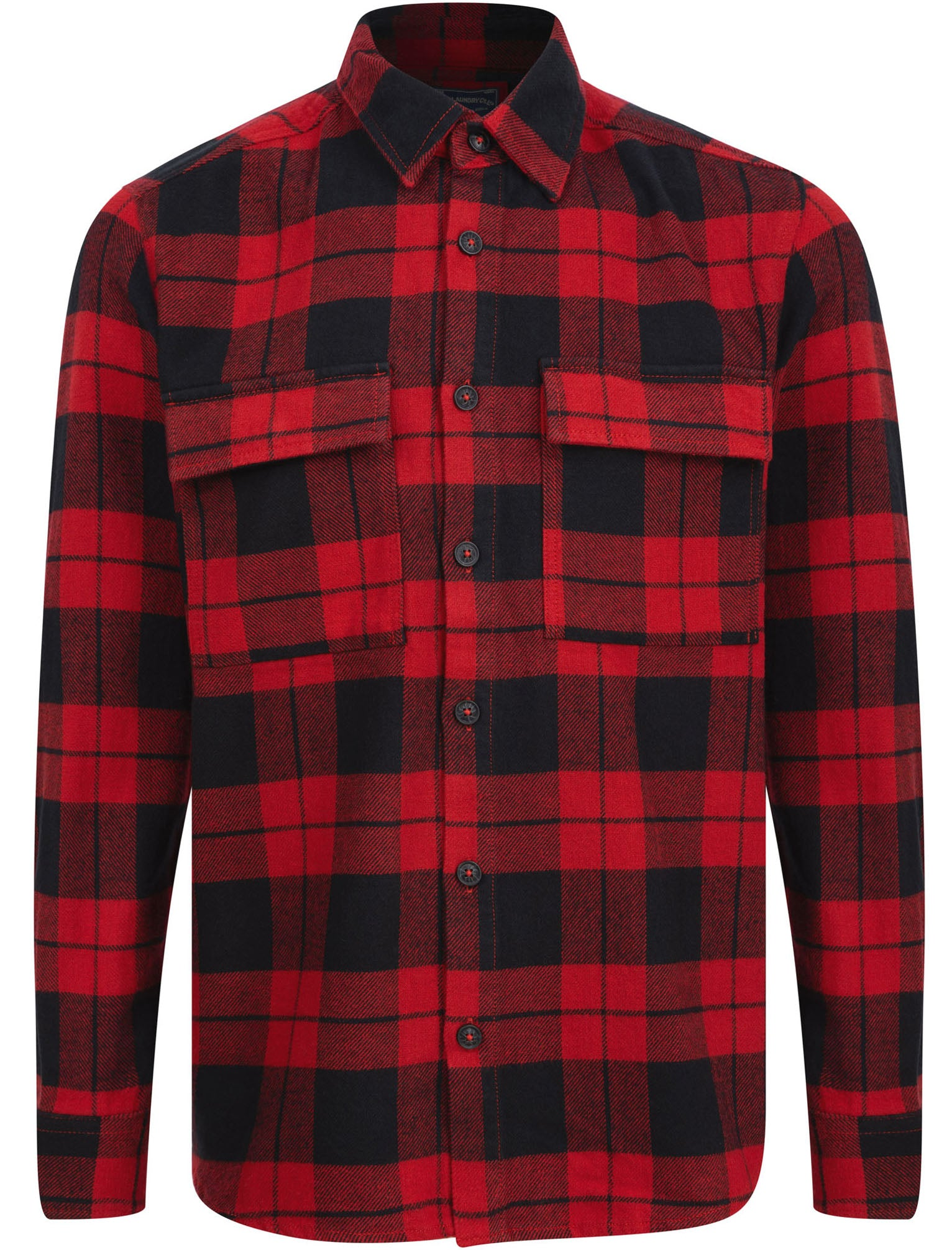 Men's Vintage Workwear Inspired Clothing Shirts Dunham Heavy Cotton Twill Checked Over Shirt In Chilli Pepper Check - Tokyo Laundry  XXL - Tokyo Laundry £24.99 AT vintagedancer.com