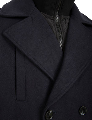 Finley Double Breasted Wool Look Pea Coat with Quilted Mock Insert in Navy - Tokyo Laundry