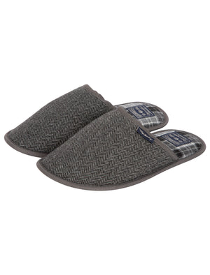 Firth Herringbone Mule Slippers with Checked Lining in Grey – Tokyo Laundry