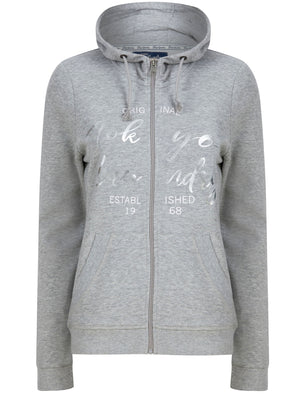Florence Zip Through Hoodie with Foil Motif in Light Grey Marl - Tokyo Laundry