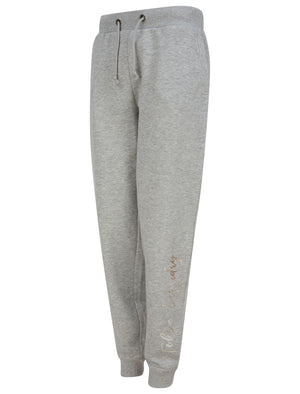 Florence Cuffed Joggers with Foil Motif in Light Grey Marl - Tokyo Laundry