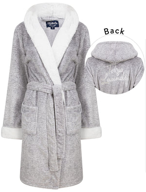 Godalming Soft Fleece Tie Robe Dressing Gown with Borg Lined Hood & Trims in Grey– Tokyo Laundry