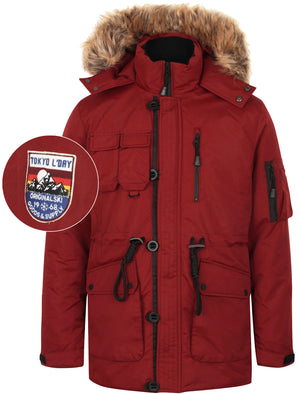 Helga Heavy Utility Parka Coat with Faux Fur Trim Hood in Cherry Red - Tokyo Laundry