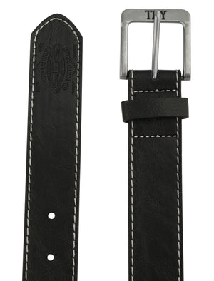 Jonason Faux Leather Belt with Contrast Stitching In Black – Tokyo Laundry