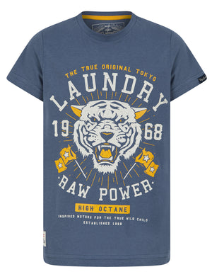 Boys Raw Power Motif Cotton T-Shirt in Vintage Indigo – Tokyo Laundry Kids