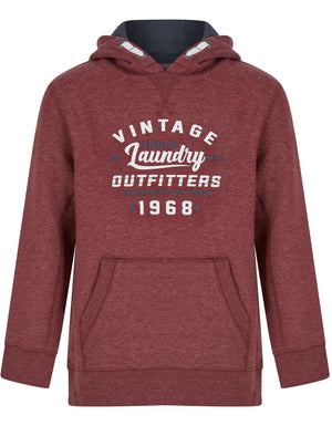 Boys Ribba Motif Brushback Fleece Pullover Hoodie in Merlot Marl – Tokyo Laundry Kids