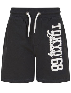 Boys Script Motif Brushback Fleece Jogger Shorts in Pirate Black –Tokyo Laundry Kids