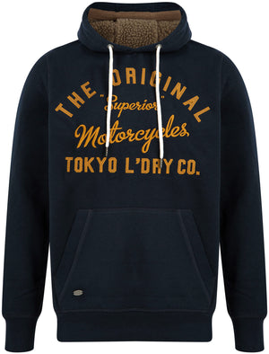 Logan Fleece Pullover Hoodie with Borg Lined Hood in Sky Captain Navy – Tokyo Laundry