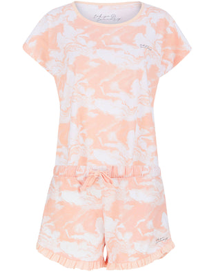Marble Print 2 Pc Shortie Lounge Set in Peach - Tokyo Laundry