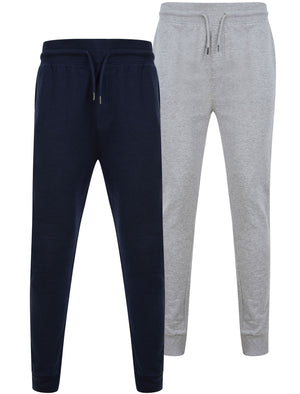 Mcclain (2 Pack) Cotton Blend Brushback Fleece Joggers Set In Sky Captain Navy / Light Grey Marl – Tokyo Laundry