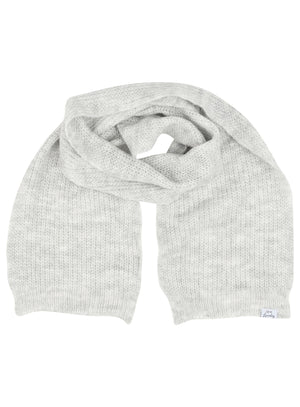 Women's Misty Brushed Wool Blend Cable Knitted Scarf in Light Grey Marl – Tokyo Laundry