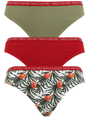 Morella (3 Pack) No VPL Seam Free Assorted Thongs in Deep Lichen Green / Red Dahlia / Egret Ivory – Tokyo Laundry
