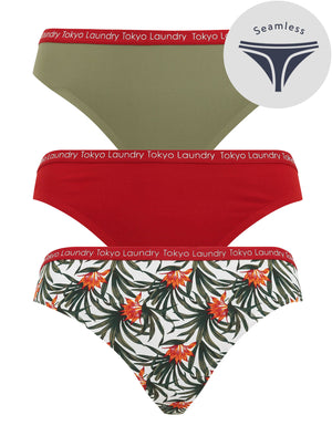 Mozzarella (3 Pack) No VPL Seam Free Assorted Thongs in Deep Lichen Green / Red Dahlia / Egret Ivory – Tokyo Laundry