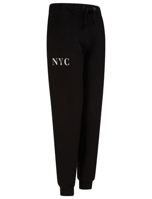 NYC 212 Motif Brushback Fleece Cuffed Joggers in Jet Black - Tokyo Laundry
