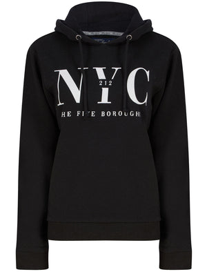 NYC Borough Motif Brushback Fleece Pullover Hoodie in Jet Black - Tokyo Laundry