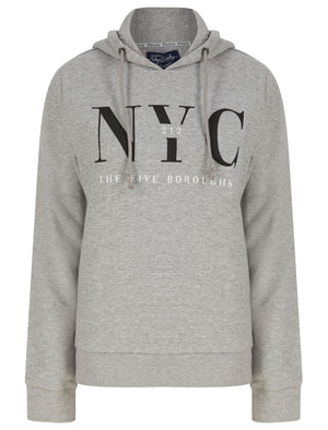 NYC Borough Motif Brushback Fleece Pullover Hoodie in Light Grey Marl - Tokyo Laundry