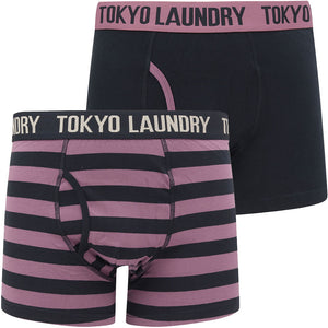 Newburgh 2 (2 Pack) Striped Boxer Shorts Set in Grape Jam / Navy – Tokyo Laundry