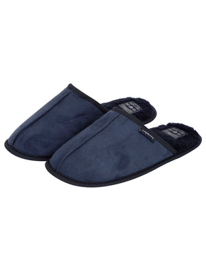 Nighy Centre Seam Mule Slippers with Faux Fur Lining in Navy – Tokyo Laundry