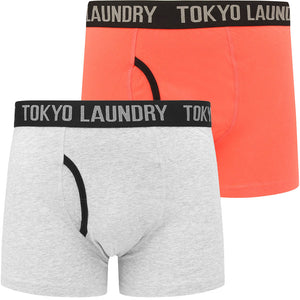 Paget (2 Pack) Boxer Shorts Set In Hot Coral / Light Grey Marl – Tokyo Laundry