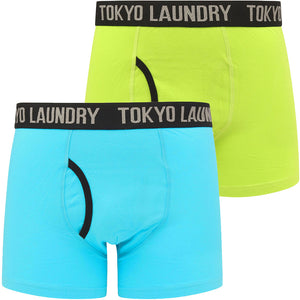 Paget (2 Pack) Boxer Shorts Set In Lime Green / Blue Atoll – Tokyo Laundry