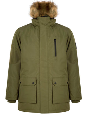 Pahana Taslon Parka Coat with Faux Fur Trim Hood in Ivy Green - Tokyo Laundry