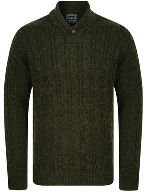 Parallax Wool Blend Shawl Neck Cable Knit Jumper in Green – Tokyo Laundry