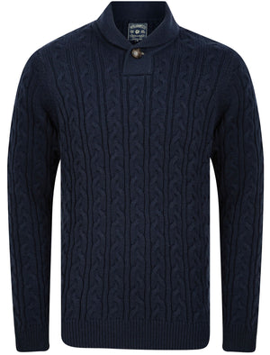 Parallax Wool Blend Shawl Neck Cable Knit Jumper in Sky Captain Navy – Tokyo Laundry