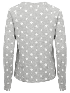 Pincho Star Print Cotton Jersey 2 pcs Lounge Set in Light Grey Marl - Tokyo Laundry