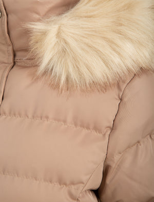 Pisa Quilted Puffer Jacket With Faux Fur Hood In Ginger Snap - Tokyo Laundry