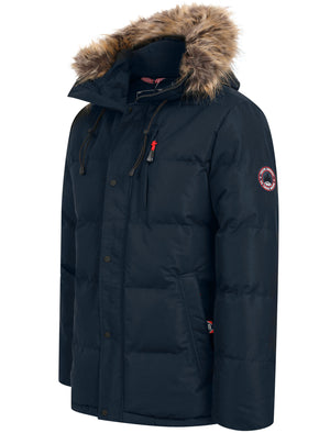 Pisces Taslon Quilted Puffer Coat with Hood In Sky Captain Navy - Tokyo Laundry