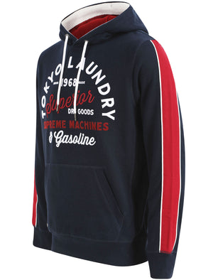 Pontecasi Applique Brushback Fleece Pullover Hoodie in Sky Captain Navy – Tokyo Laundry