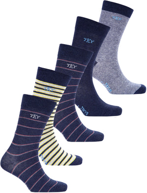 Rayleigh (5 Pack) Cotton Rich Multi-coloured Striped Socks in Dark Denim Marl / Light Grey Marl - Tokyo Laundry